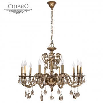 Подвесная люстра Chiaro Габриэль 491011110, 10xE14x60W, бронза, коньячный, металл, хрусталь