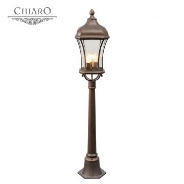 Уличный фонарь Chiaro Шато 800040203, IP44, 3xE14x60W, коричневый, прозрачный, металл, стекло