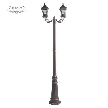 Уличный фонарь Chiaro Шато 800040502, IP44, 2xE27x40W, коричневый, прозрачный, металл, стекло