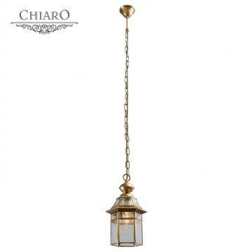 Подвесной светильник Chiaro Мидос 802010101, IP44, 1xE27x60W, латунь, прозрачный, металл, стекло