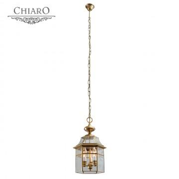 Подвесной светильник Chiaro Мидос 802010303, IP44, 3xE14x40W, латунь, прозрачный, металл, стекло