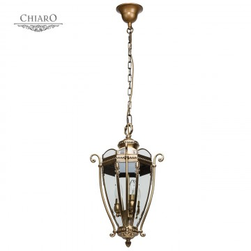 Подвесной светильник Chiaro Мидос 802010703, IP44, 3xE14x60W, бронза, прозрачный, металл, стекло