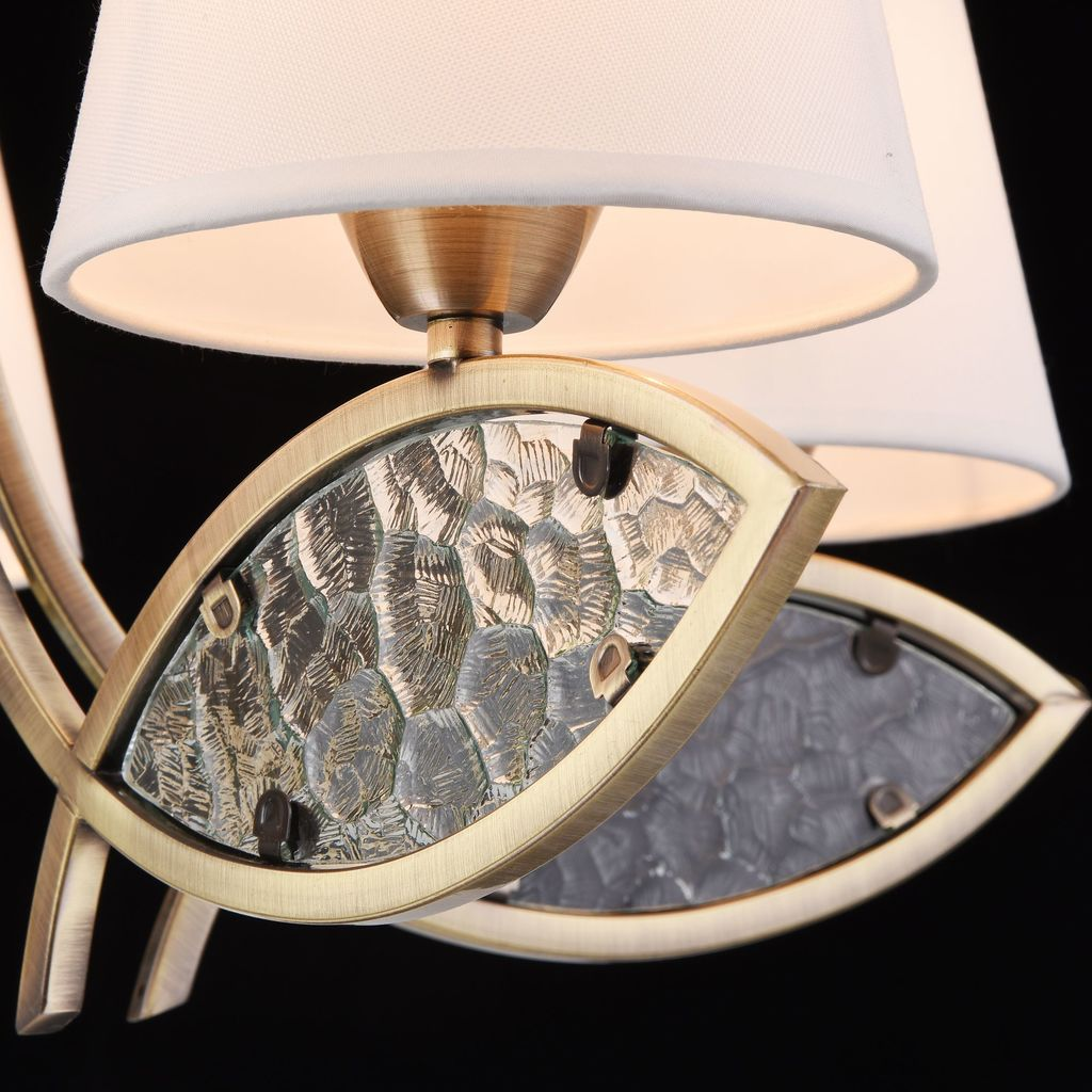 Подвесная люстра Freya Camila FR5597PL-05BZ, 5xE14x60W, бронза, прозрачный, белый, металл, стекло, текстиль - фото 5