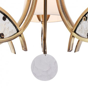 Подвесная люстра Freya Camila FR5597PL-05BZ, 5xE14x60W, бронза, прозрачный, белый, металл, стекло, текстиль - миниатюра 6