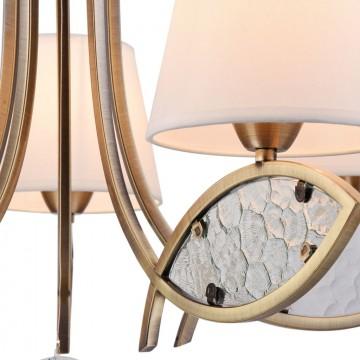 Подвесная люстра Freya Camila FR5597PL-05BZ, 5xE14x60W, бронза, прозрачный, белый, металл, стекло, текстиль - миниатюра 7