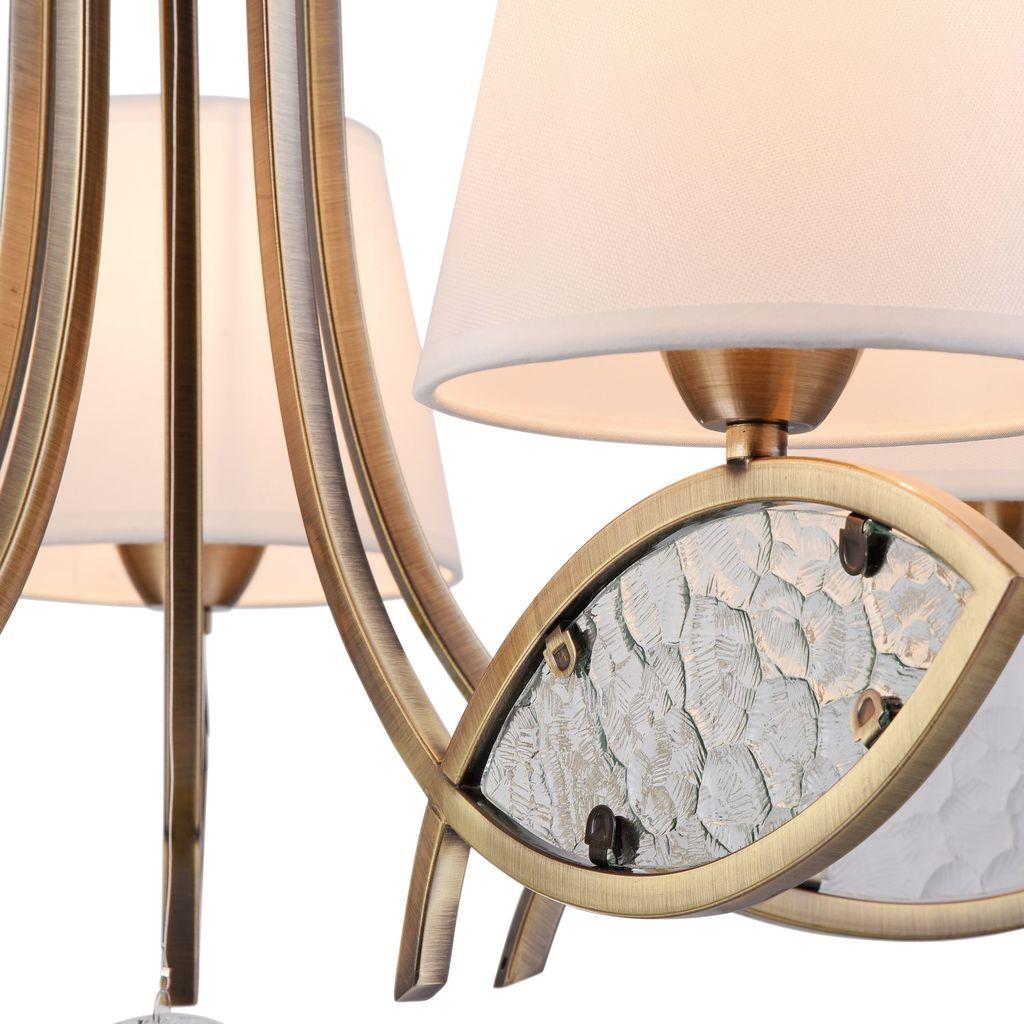 Подвесная люстра Freya Camila FR5597PL-05BZ, 5xE14x60W, бронза, прозрачный, белый, металл, стекло, текстиль - фото 7