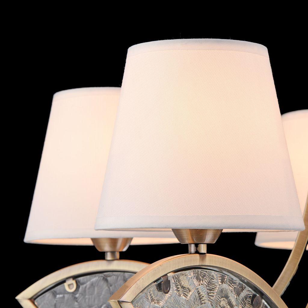 Подвесная люстра Freya Camila FR5597PL-05BZ, 5xE14x60W, бронза, прозрачный, белый, металл, стекло, текстиль - фото 8