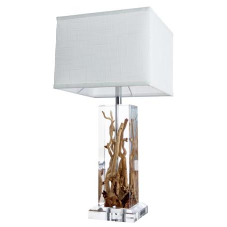Настольная лампа Divinare Selva 3200/09 TL-1, 1xE27x60W, коричневый, белый, пластик, дерево, текстиль