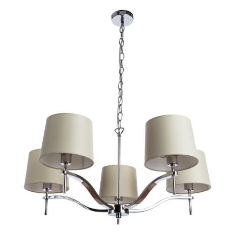 Подвесная люстра Divinare Soprano 1341/02 LM-5, 5xE14x40W, хром, бежевый, металл, текстиль