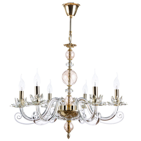Подвесная люстра Divinare Platea 8820/09 LM-6, 6xE14x40W, золото, прозрачный, янтарь, хрусталь