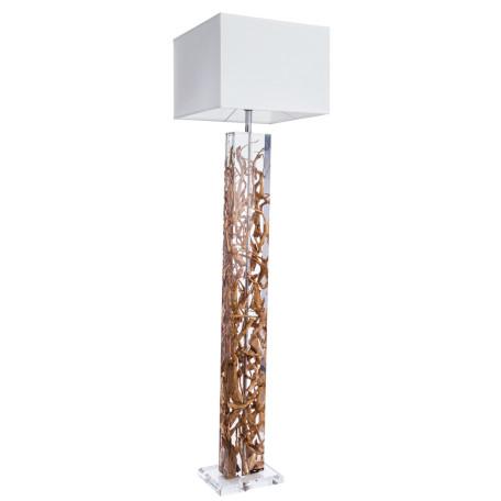 Торшер Divinare Selva 3200/09 PN-1, 1xE27x60W, коричневый, белый, пластик, дерево, текстиль