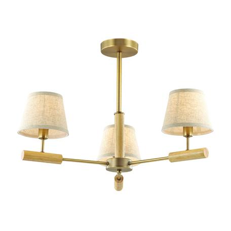 Потолочная люстра Lumion Robin 3703/3C, 3xE14x40W, бронза, коричневый, бежевый, металл, дерево, текстиль