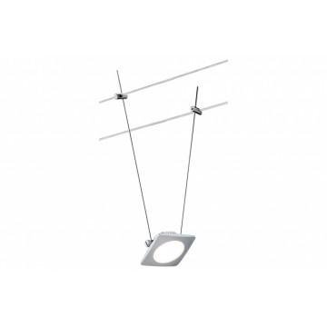 Светодиодный светильник с регулировкой направления света для тросовой системы Paulmann Spot QuadLED 94091, LED 4W, матовый хром, металл, металл с пластиком