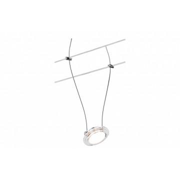 Светодиодный светильник с регулировкой направления света для тросовой системы Paulmann Spot LED Twist Coin 94094, LED 4W, матовый хром, прозрачный, металл, пластик