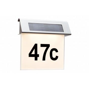 Светодиодный светильник-указатель Paulmann Solar House Number 93765, IP44, LED 0,2W, сталь, металл с пластиком