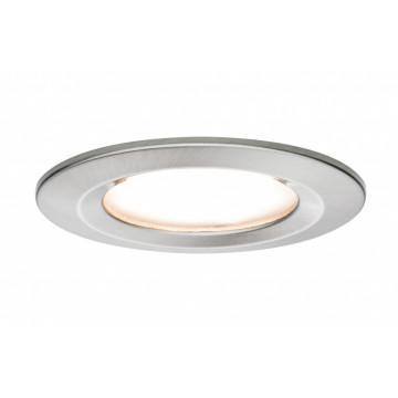 Встраиваемый светодиодный светильник Paulmann Premium LED 230V Slim Coin Satin 51mm dimmable 93873, IP44, LED 6,8W, матовый хром, металл