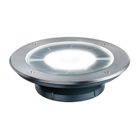 Встраиваемый в уличное покрытие светодиодный светильник Paulmann Solar Pandora 93776, IP67, LED 0,36W, сталь, металл со стеклом