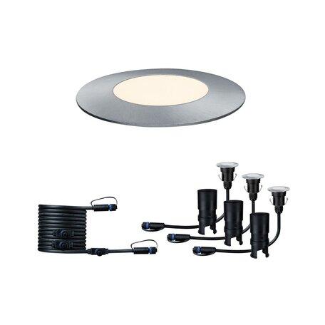 Встраиваемый в уличное покрытие светодиодный светильник Paulmann Plug & Shine Floor Mini Extension Set 93949, IP65, LED 2,5W, серебро, металл