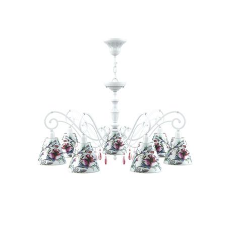 Потолочно-подвесная люстра Maytoni Lamp4You Classic 19 E3-07-WM-LMP-O-13-CRL-E3-07-PK-DN, 7xE14x40W, белый, разноцветный, розовый, металл, текстиль, хрусталь