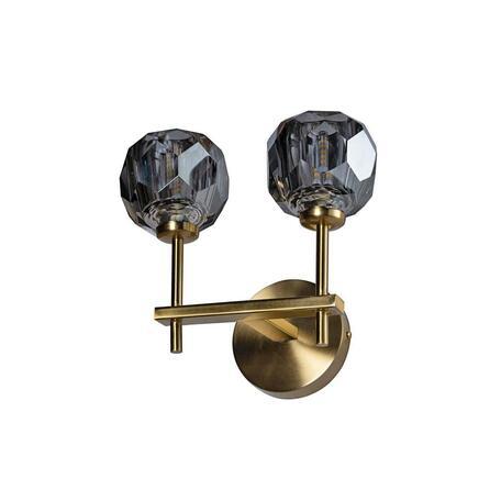 Бра Loft It Orion Smoky 10021/2W, 2xG9x12W, матовое золото, дымчатый, металл, хрусталь