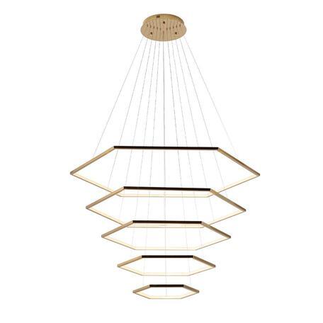 Подвесной светодиодный светильник Loft It Ring 10016/5, LED 122W, матовое золото, металл