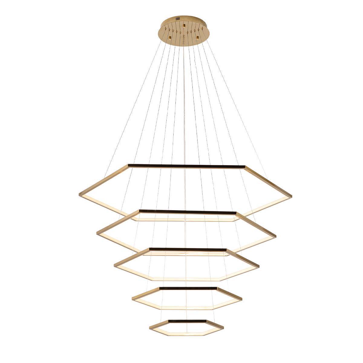 Подвесной светодиодный светильник Loft It Ring 10016/5, LED 122W, матовое золото, металл - фото 1