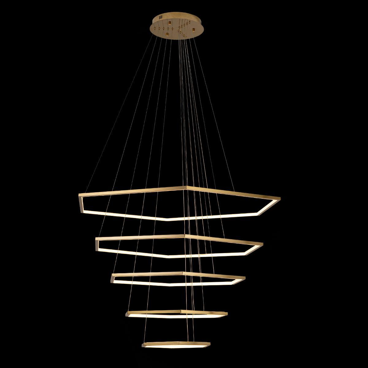 Подвесной светодиодный светильник Loft It Ring 10016/5, LED 122W, матовое золото, металл - фото 2