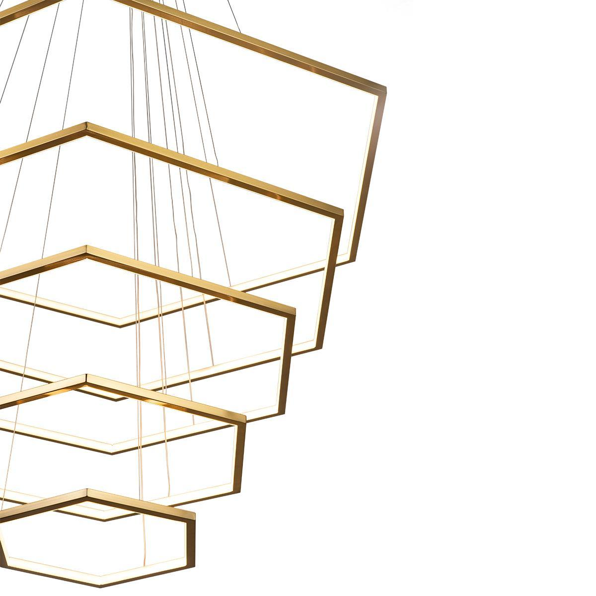 Подвесной светодиодный светильник Loft It Ring 10016/5, LED 122W, матовое золото, металл - фото 4