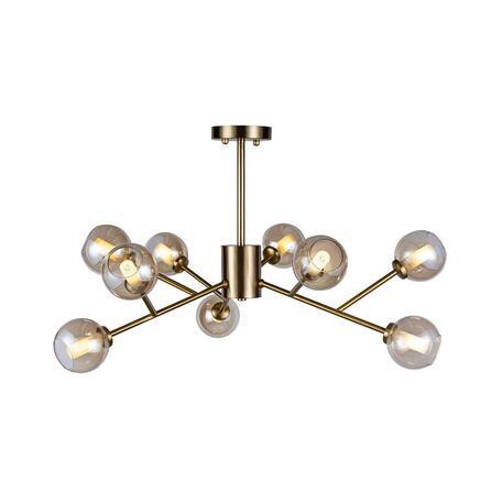 Потолочная люстра Loft It Orion 10020/9, 9xG9x12W, матовое золото, дымчатый, металл, стекло