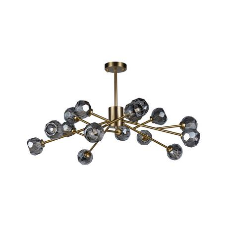 Потолочная люстра Loft It Orion Smoky 10021/15, 15xG9x12W, матовое золото, дымчатый, металл, хрусталь
