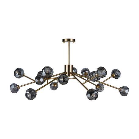 Потолочная люстра Loft It Orion Smoky 10021/18, 18xG9x12W, матовое золото, дымчатый, металл, хрусталь