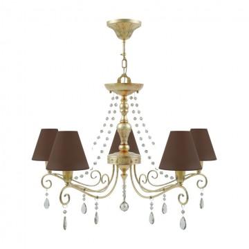 Потолочно-подвесная люстра Maytoni Provence 10 E4-05-H-LMP-O-30-CRL-E4-05-CH-UP, 5xE14x40W, матовое золото, коричневый, коньячный, металл, текстиль