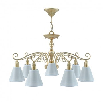 Потолочно-подвесная люстра Maytoni Provence 9 E4-07-H-LMP-O-20, 7xE14x40W, матовое золото, белый, металл, текстиль