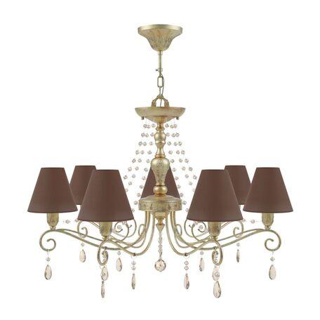 Потолочно-подвесная люстра Maytoni Provence 10 E4-07-H-LMP-O-30-CRL-E4-07-CH-UP, 7xE14x40W, матовое золото, коричневый, коньячный, металл, текстиль - миниатюра 1