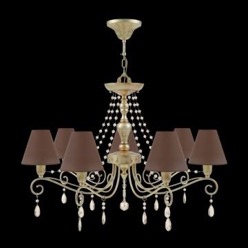 Потолочно-подвесная люстра Maytoni Provence 10 E4-07-H-LMP-O-30-CRL-E4-07-CH-UP, 7xE14x40W, матовое золото, коричневый, коньячный, металл, текстиль - миниатюра 2