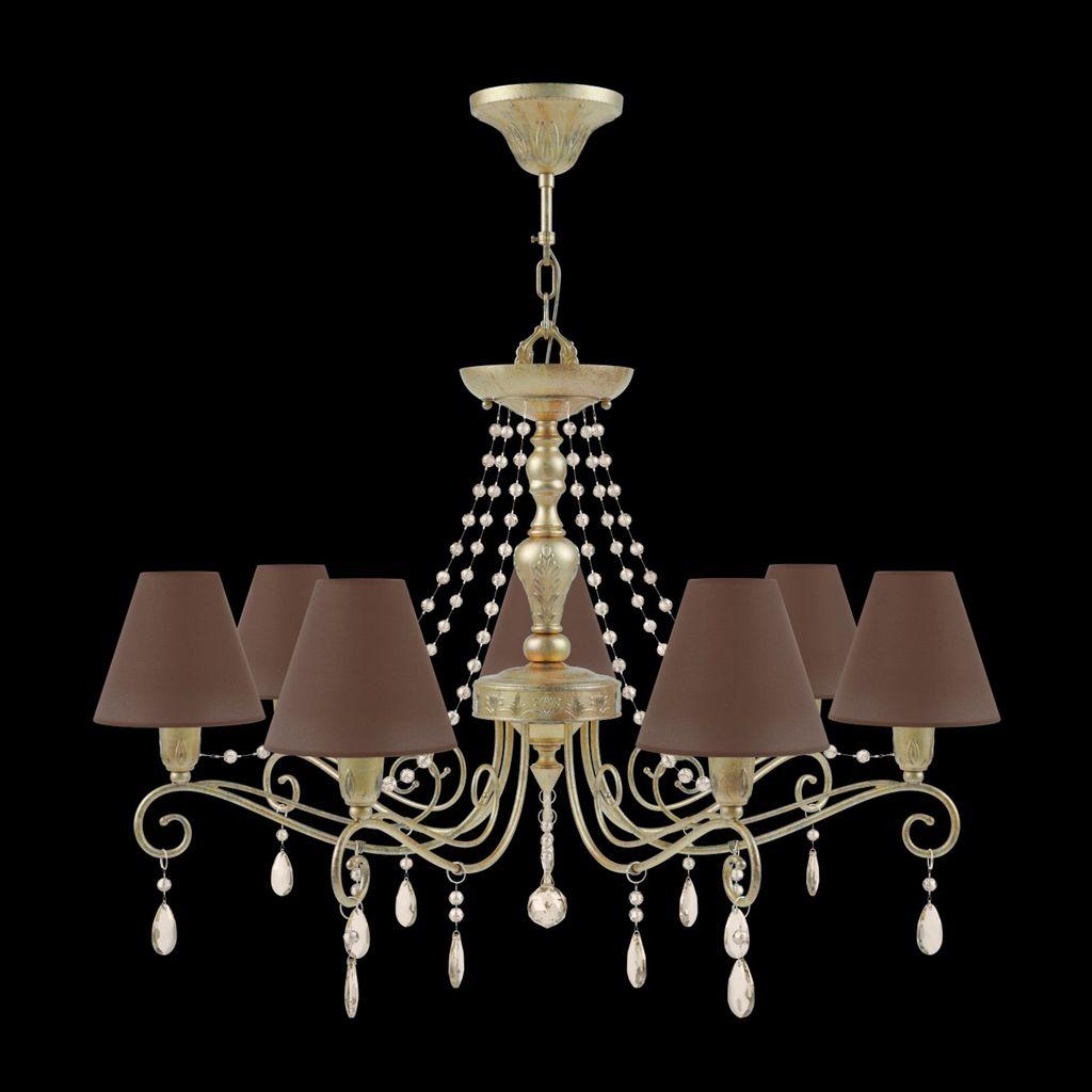 Потолочно-подвесная люстра Maytoni Provence 10 E4-07-H-LMP-O-30-CRL-E4-07-CH-UP, 7xE14x40W, матовое золото, коричневый, коньячный, металл, текстиль - фото 2