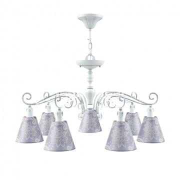 Потолочно-подвесная люстра Maytoni Provence 6 E4-07-WM-LMP-O-3, 7xE14x40W, белый, фиолетовый, металл, текстиль