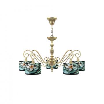Потолочно-подвесная люстра Maytoni Lamp4You Classic 12 E3-05-H-LMP-Y-12, 5xE14x40W, матовое золото, разноцветный, металл, текстиль