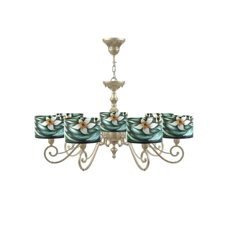 Потолочно-подвесная люстра Maytoni Lamp4You Classic 12 E3-07-H-LMP-Y-12, 7xE14x40W, матовое золото, разноцветный, металл, текстиль