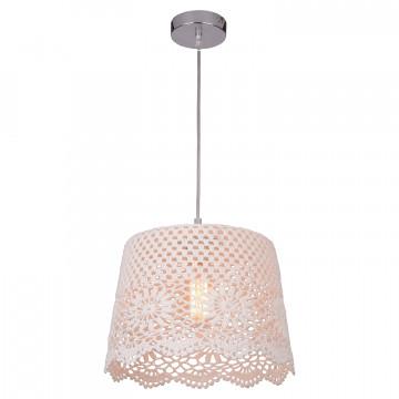 Подвесной светильник Lussole LGO Caldwell LSP-8037, IP21, 1xE27x40W, хром, белый, металл, текстиль