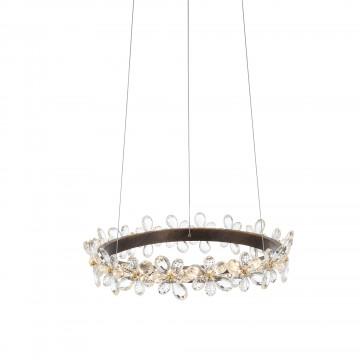 Подвесной светодиодный светильник ST Luce Forito SL408.303.01, LED 25W 3000K 1458lm, коричневый с золотой патиной, прозрачный, металл, хрусталь