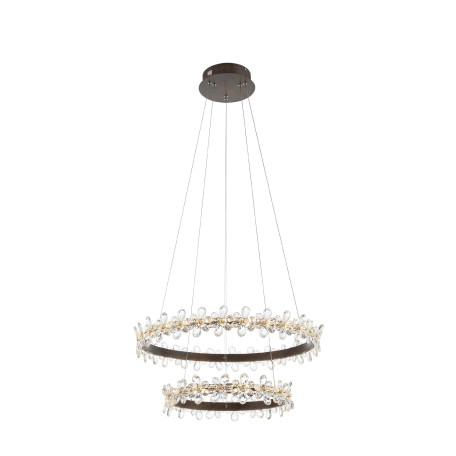 Подвесной светодиодный светильник ST Luce Forito SL408.303.02, LED 70W 3000K 3500lm, коричневый с золотой патиной, прозрачный, металл, хрусталь