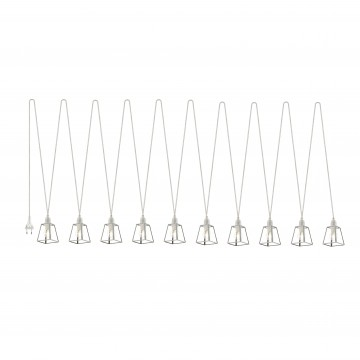 Гирлянда Favourite Luminas 2045-10P, IP21, 10xE14x40W, белый, прозрачный, металл, стекло