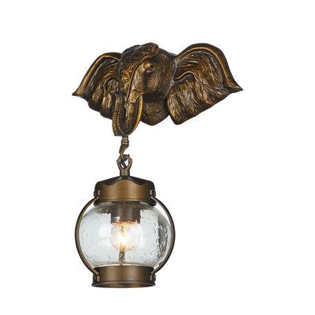 Настенный фонарь Favourite Hunt 2031-1W, IP44, 1xE27x60W, коричневый, прозрачный, металл, ковка, металл со стеклом