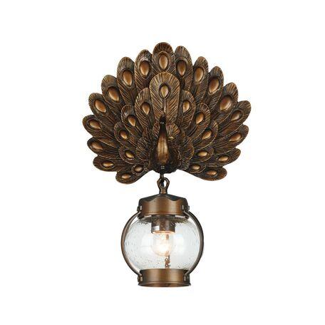 Настенный фонарь Favourite Hunt 2032-1W, IP44, 1xE27x60W, коричневый, прозрачный, металл, ковка, металл со стеклом