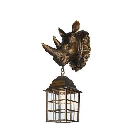 Настенный фонарь Favourite Hunt 2033-1W, IP44, 1xE27x60W, коричневый, прозрачный, металл, ковка, металл со стеклом