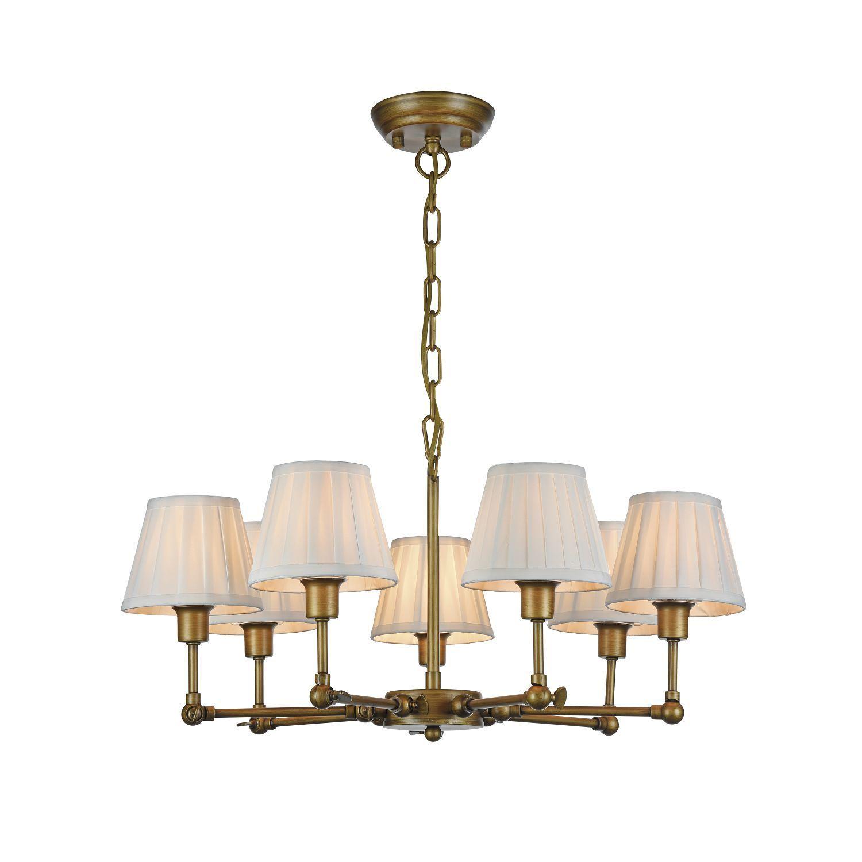 Подвесная люстра с регулировкой направления света Favourite Gambas 2030-7P, 7xE14x40W, коричневый, белый, металл, текстиль - фото 1