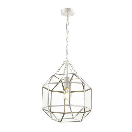 Подвесной светильник Favourite Quadratum 1949-1P, 1xE27x60W, белый с золотой патиной, прозрачный, металл, стекло