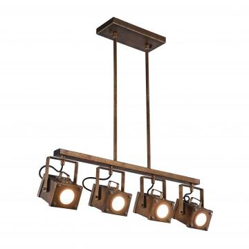 Потолочно-подвесной светильник с регулировкой направления света Favourite Foco 2037-4U, 4xGU10x5W, коричневый, металл, пластик - миниатюра 1