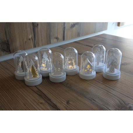 Настольная светодиодная лампа-ночник Globo New Y 23227-12, LED 0,06W, белый, прозрачный, стекло